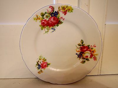 "Vintage Shelley Hulmes Rose 6"" Plate Pale Blue Rim"