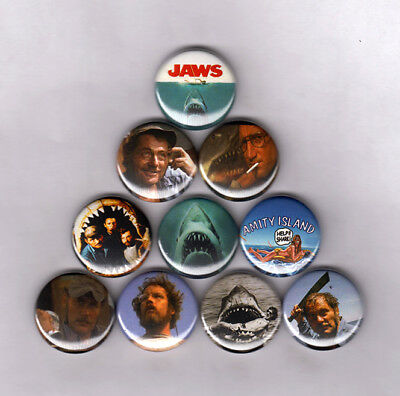 "JAWS 1"" PINS / BUTTONS (movie poster 2 3 art print quint shark 1975 rare vintage"