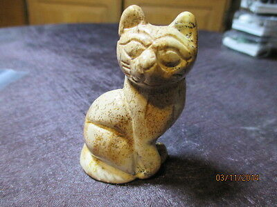 CARVED JASPER KITTY CAT COLLECTIBLE