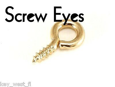 """Brass Plated Screw Eyes ~ 1/2"""" 9/16"""" 5/8"""" 3/4"""" 1"""" { Lots of 10 to 100 }  by PLD"""