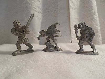 "3 Ral Partha Pewter 1991 1988 TSR Dungeons Dragons S.L. Garrity 2"" Miniatures"