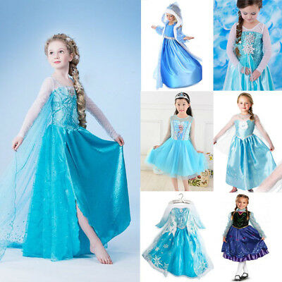 NSW Girl Frozen Queen ELSA Princess ANNA Costume Party Birthday Dress 1-12 Years