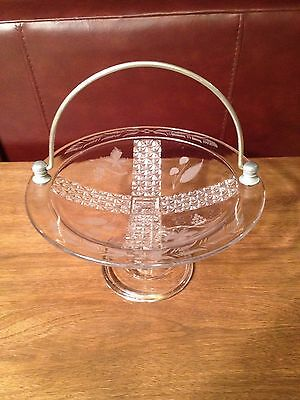 Vintage Etched Pedestal Clear Glass Compote Serving Bowl / Candy Dish w/Handle
