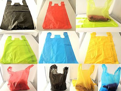 """100 -11x21 Red, Blue, Black, Lime & Yellow T-Shirt Merchandise Bags w/6"""" gusset"""