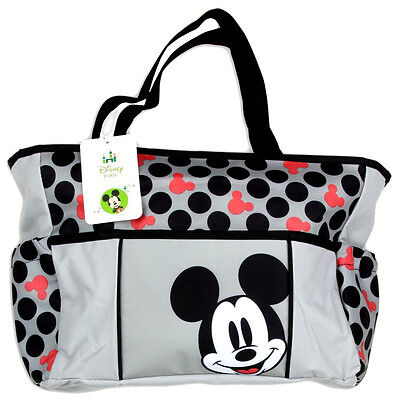 Disney Mickey Mouse Grey with Polka Dot Tote Diaper Bag