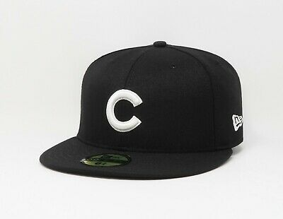 4d5906374dc New Era Cap Hat 59Fifty Chicago Cubs Black White Fitted 5950 MLB Basic  Fitted