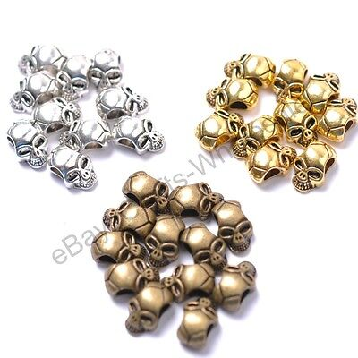 10Pcs Tibetan Silver, Gold, Bronze, Charms Skull Loose Spacer Beads 12X8MM D809