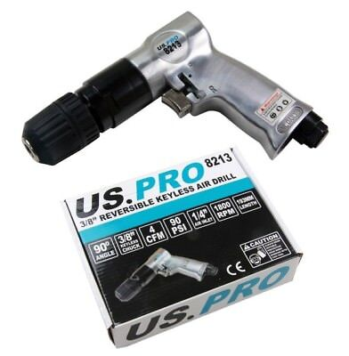 "AIR DRILL with 3/8"" KEYLESS CHUCK by BERGEN TOOLS Reversible With Pistol Grip"