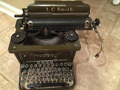 Antique L.C. Smith Typewriter Army Green