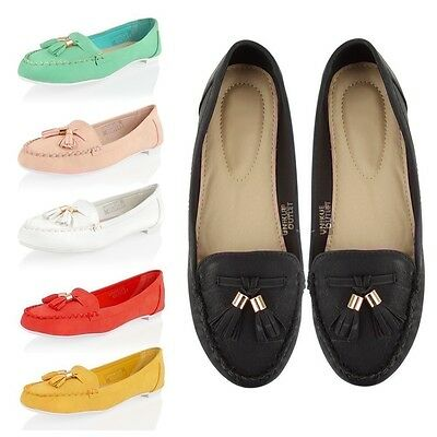 Womens tassel loafers ladies flat casual dolly pumps slip on summer shoes size