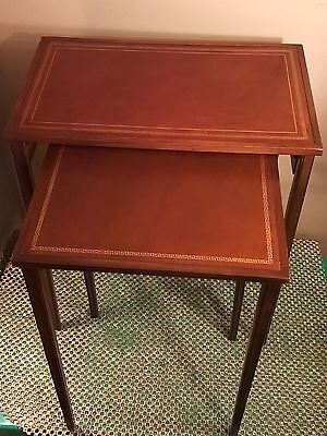 2- Vintage Mahogany Leather Top Stacking Nesting Tables  Stands