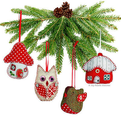 4 X Sewing PATTERNS Robin/Owl/Toadstool/Cottage CHRISTMAS Ornaments Indie Desig
