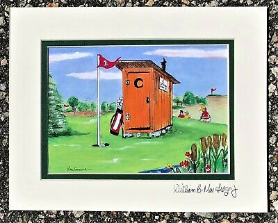 Outhouse Golf Art Print Personalized Gift for Golfer Golfing Decor Bathroom Club