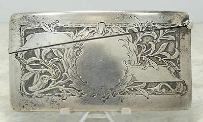 Antique Sterling Silver W Kerr Co Calling Card Case Etched Nouveu No Mono SS2999