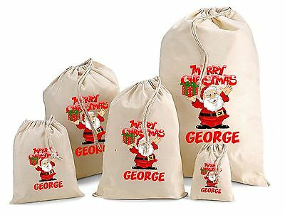 Personalised Father Christmas Cotton Gift Bag Santa Sack  Various Sizes