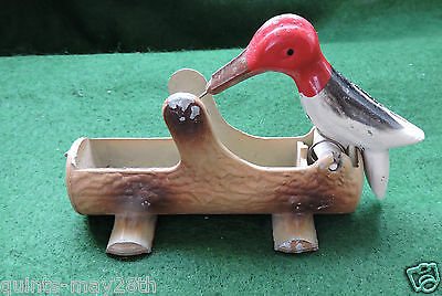Vintage Cast Iron Red Headed Woodpecker Toothpick Holder Mechanical NIce Cond