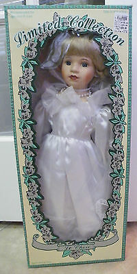 NEW Limited Collection Genuine Porcelain Doll Blonde White Dress Bride Tracie 22