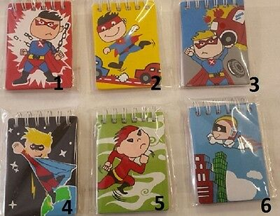 NEW Kids Wooden Lined Mini Note Book Super Hero Party Favour 6 Styles 9 x 6 x1cm