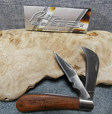 "RITE EDGE TWO BLADE 4 "" HAWKBILL PRUNING KNIFE WOOD HANDLE 210595 NEW"