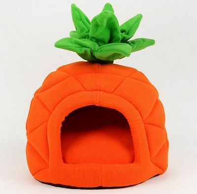 New Cute Orange Pineapple Pet Dog Cat Tent House Puppy Bed Size Small