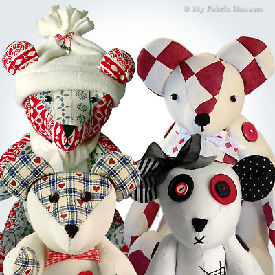 4 X Fabric Jointed Teddy Bear Independent Design Sewing PATTERNS Memory Bear