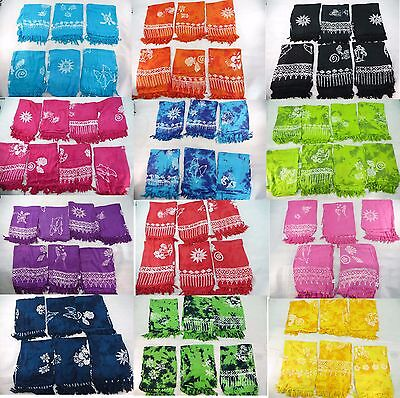 *US SELLER*Lot of 10 wholesale rayon pareos sarong hand-stampped...