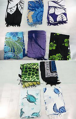 *US SELLER*Lot of 10 bulk turtle sealife hibiscus flower aloha Hawaiian sarong