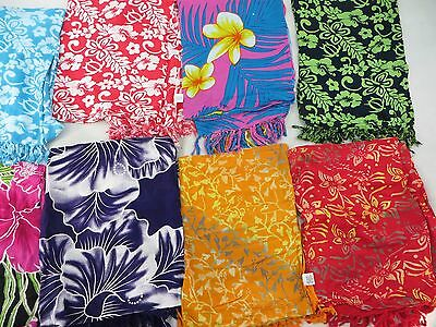 *US SELLER*Lot of 10 hibiscus flower sarong swimsuit coverups pareo Hawaii Aloha