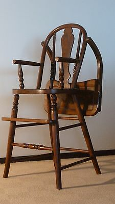 Antique Oak High Chair 1920's, Mission/Arts & Crafts Style Beautifully Restored