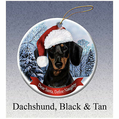 Dachshund Black and Tan Howliday Porcelain China Dog Christmas Ornament
