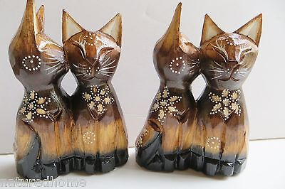 """2 PAIRS of 5.5"""" KISSING CATS! CAT FIGURINES ,HAND CARVED IN WOOD."""