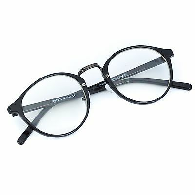 Retro Vintage Oval Style Clear Lens Eye Glasses Hipster Cool Nerd Smart Round