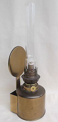 Vintage Denmark Oil Lamp With Reflector & Wall Mount