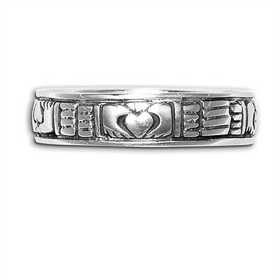 Sterling Silver Celtic Claddagh Irish Ring Band New