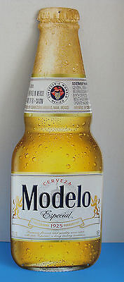 "Cerveza Modelo Especial Beer Bottle 22"" X 8"" Metal Tacker Sign New"