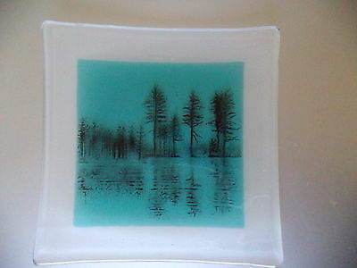 Art Glass Tile Square Dish Tree Silhouette Turquoise Black- Frosted back