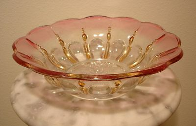 U.S. Glass Michigan Gold & Maidens Blush Decorated Master Berry or Fruit Bowl