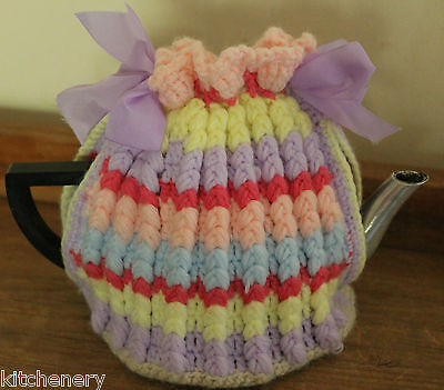 Pastel Tea Cosy Hand Knit Wool Lemon Pink Mauve drawstring Hand Made Vintage x