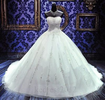 STOCK New Beaded White/Ivory Bridal Gown Wedding Dresses Size 6 8 10 12 14 16 18