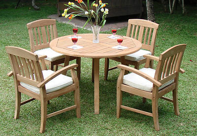 "Samurai Grade-A Teak 5pc Dining 52"" Round Table 4 Arm Chair Set Outdoor Patio NW"