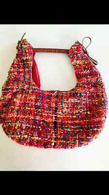 Multi-Colored Handmade Evening Bag With Bamboo Handle