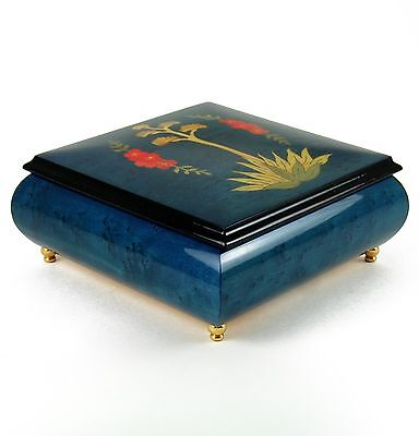Yellow Flowered Agave Inlay over Glossy Blue Sorrento Musical Box - MBA Reg $315