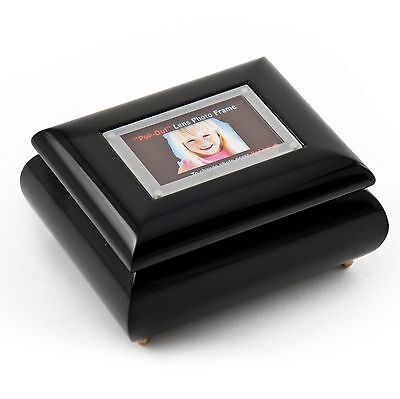 """3"""" x 2"""" Wallet sized Black Photo Frame Music Box with """"Pop up"""" Lens - MBA $95"""