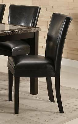 Black Vinyl Upholstered Parson Dining Side Chair by Coaster 102262 - Set of 2