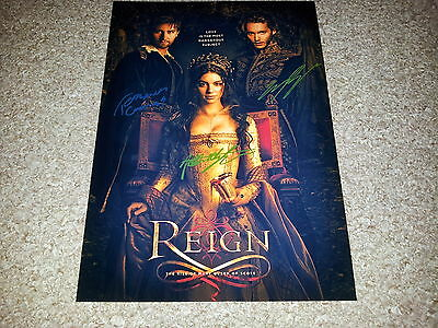 "Reign Pp Cast X2 Signed 12""x8"" A4 Photo Poster Adelaide Kane Toby Regbo"