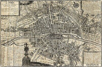 Giant 1705 Plan De Paris City Wall Map Old Historic Antique Style Fine Map Print