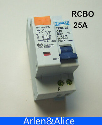 DPNL 1P+N 25A 230V~ 50HZ/60HZ MCB with over current and Leakage protection RCBO
