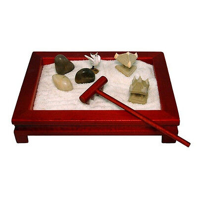 MINI ZEN GARDEN Red Wood Meditation Desk Table Top NEW GIFT Feng Shui Relaxation