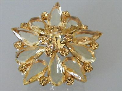 1950's SCHREINER Inverted YELLOW Glass Rhinestone Gold Starburst Floral Brooch