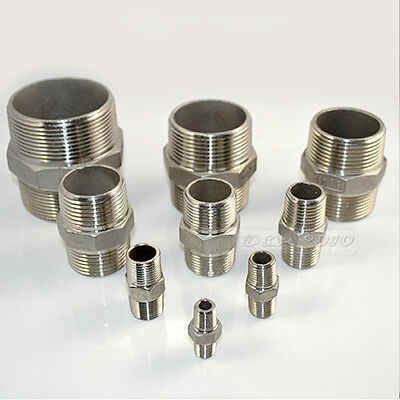 "1/8""-2"" Male x Male Hex Nipple Stainless Steel 304 Threaded Pipe Fitting NPT Hot"